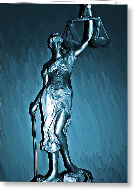 Objectivity Greeting Cards - Blind Justice  Greeting Card by Chris Berry