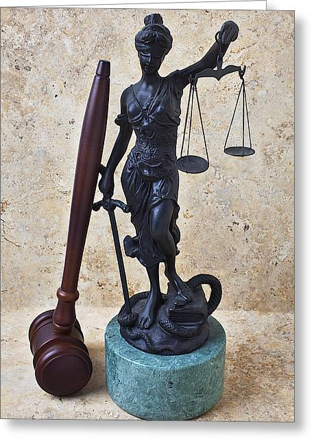 Blinds Greeting Cards - Blind justice statue with gavel Greeting Card by Garry Gay