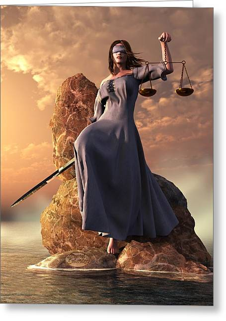 Blind Justice With Scales And Sword Greeting Card by Daniel Eskridge
