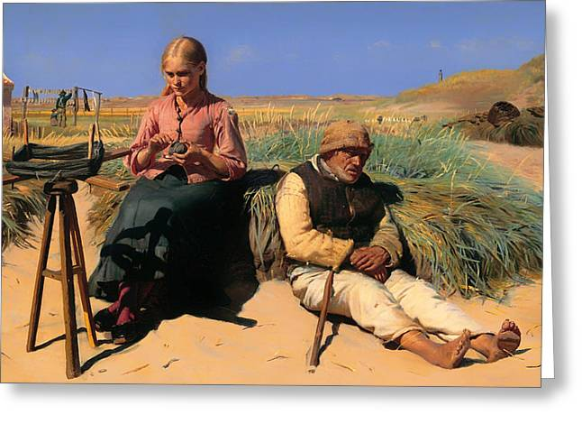 Sand Dunes Paintings Greeting Cards - Blind Kristian and Tine among the Dunes Greeting Card by Michael Ancher