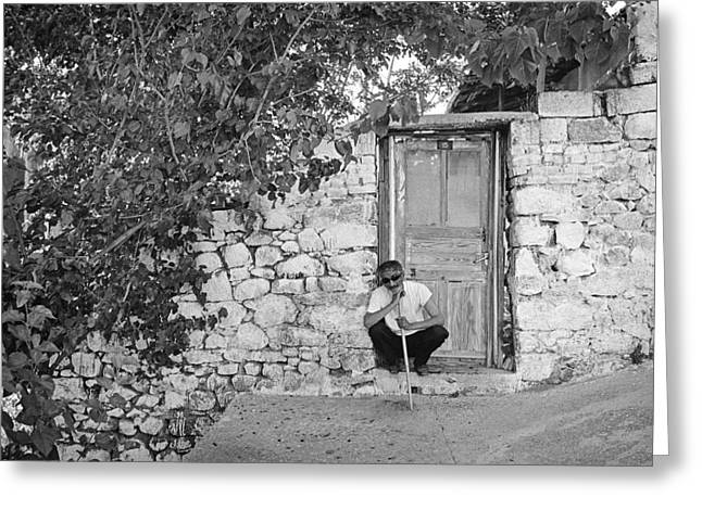 Old House Photographs Greeting Cards - Blind Man and His House Greeting Card by Ilker Goksen