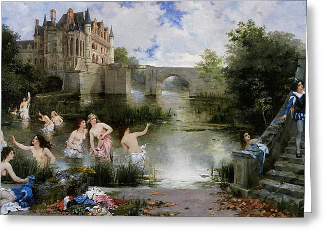 Lady In Lake Greeting Cards - Blind Mans Bluff Greeting Card by Noel Saunier