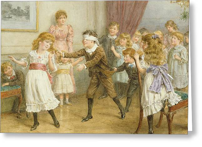 Dizzy Greeting Cards - Blind Mans Buff Greeting Card by George Goodwin Kilburne