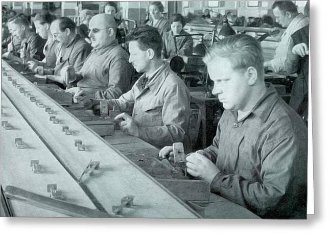 Blind Workers On A Production Line Greeting Card by Universal History Archive/uig