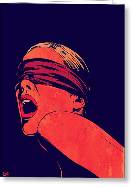 Lipstick Greeting Cards - Blindfolded Greeting Card by Giuseppe Cristiano