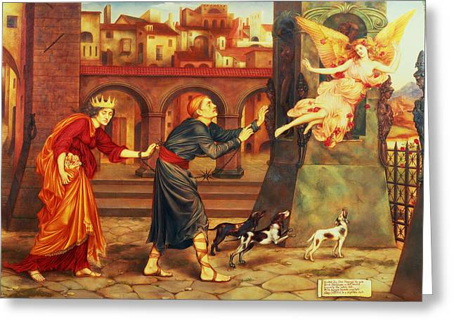 Williams Greeting Cards - Blindness and Cupidity Chasing Joy from the City Greeting Card by Evelyn De Morgan