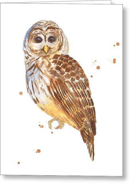 Cute Owl Greeting Cards - Blink Greeting Card by Alison Fennell