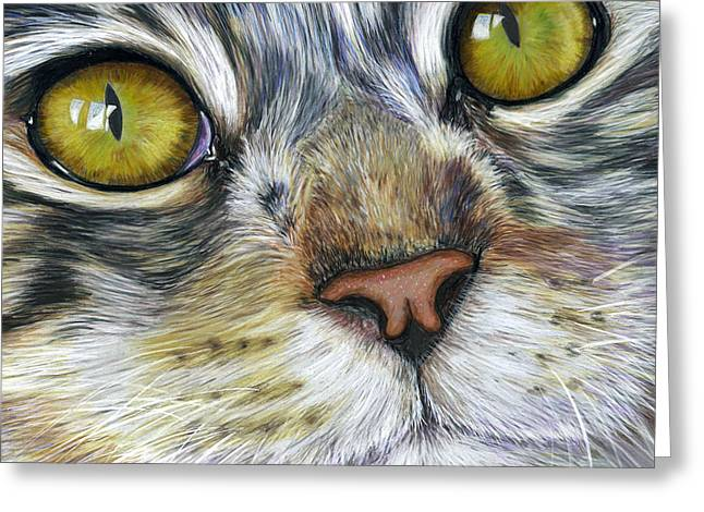 Pets Greeting Cards - Stunning Cat Painting Greeting Card by Michelle Wrighton