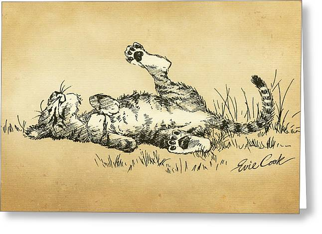 Tigers Digital Greeting Cards - Bliss in the Grass Greeting Card by Evie Cook