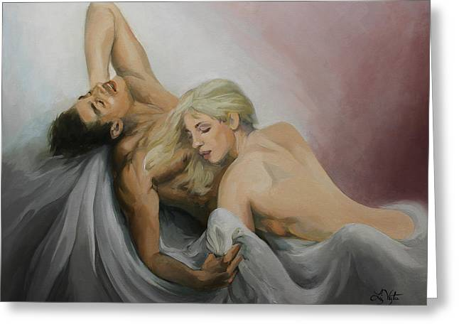 Passionate Touch Greeting Cards - Bliss Greeting Card by Liz Viztes