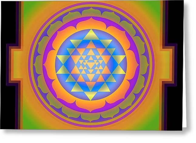 Tibetan Buddhism Mixed Media Greeting Cards - Bliss Yantra Greeting Card by Svahha Devi