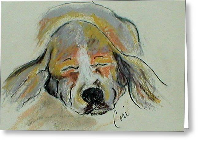 Puppies Pastels Greeting Cards - Blissful Dreams IV Greeting Card by Cori Solomon