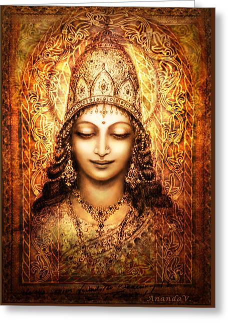 Blessing Greeting Cards - Blissful Goddess Greeting Card by Ananda Vdovic