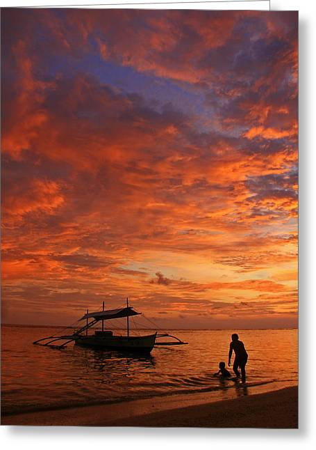 Pancho Greeting Cards - Blissful Sunset Greeting Card by Janet Pancho Gupta
