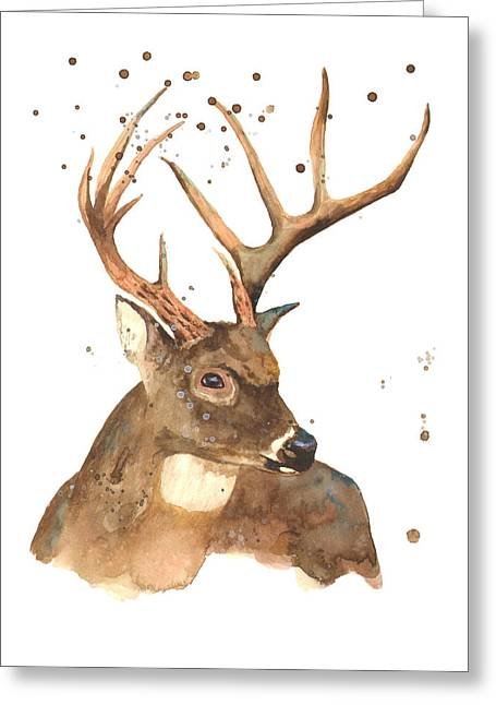 Stag Greeting Cards - Blitzen Greeting Card by Alison Fennell