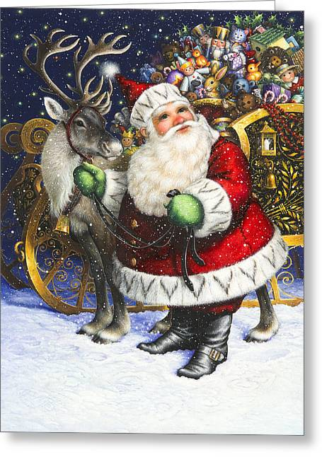 Claus Greeting Cards - Blitzen Greeting Card by Lynn Bywaters