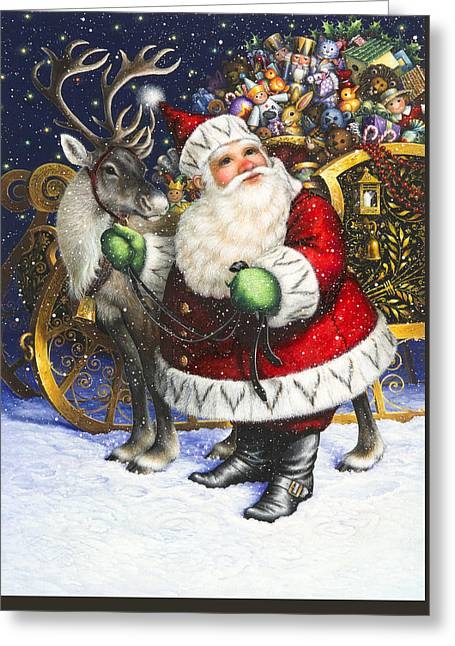 Blitzen Greeting Card by Lynn Bywaters