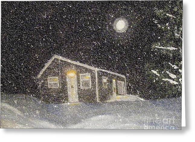 Drifting Snow Paintings Greeting Cards - Blizzard at the Cabin Greeting Card by Barbara Griffin