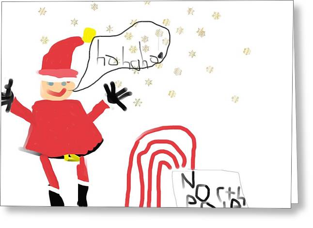 Sledge Greeting Cards - Blizzard In The North Pole Greeting Card by My seven year old