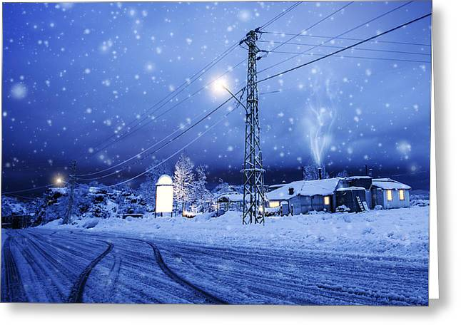 Snowy Night Night Greeting Cards - Blizzard in the village Greeting Card by Anna Omelchenko