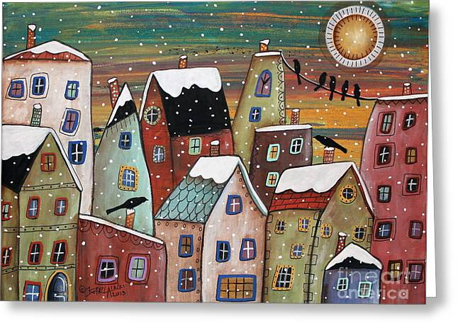Winter Prints Paintings Greeting Cards - Blizzard Greeting Card by Karla Gerard