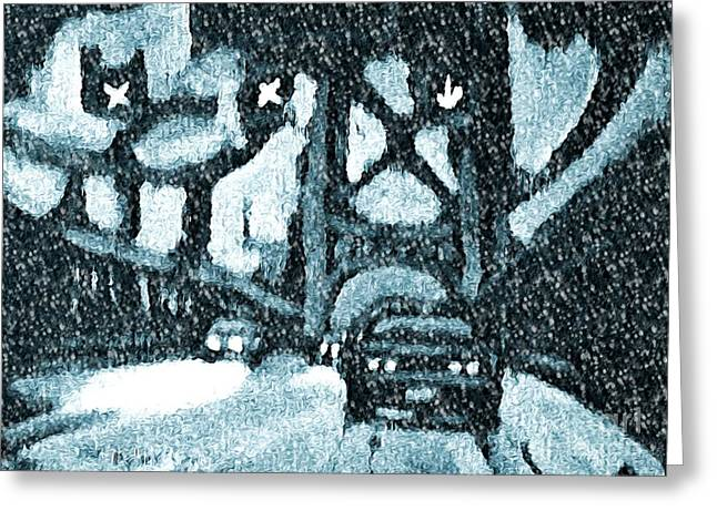 Blizzard Scenes Greeting Cards - Blizzard on the Bridge Greeting Card by John Malone