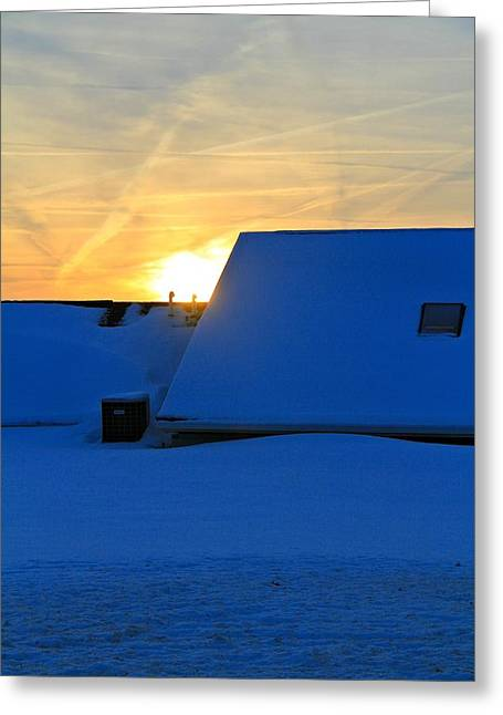 Snowstorm Greeting Cards - Blizzard Sunrise Greeting Card by Dan Sproul
