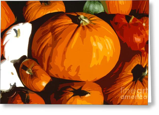 Bloat Greeting Cards - Bloated Pumpkins Greeting Card by Debra Orlean
