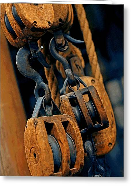 Tool Chest Greeting Cards - Block and Tackle Greeting Card by Mike Flynn