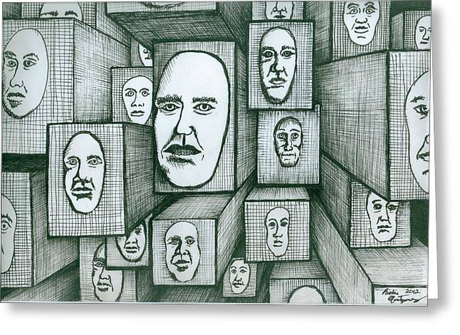 Richie Montgomery Greeting Cards - Block Head Greeting Card by Richie Montgomery