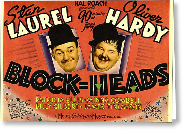Laurel And Hardy Greeting Cards - Block Heads Greeting Card by Studio Release