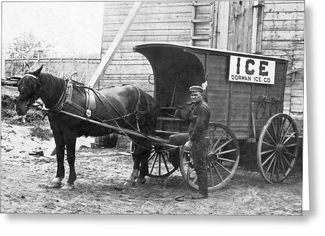 Block Ice Delivery Wagon Greeting Card by Underwood Archives