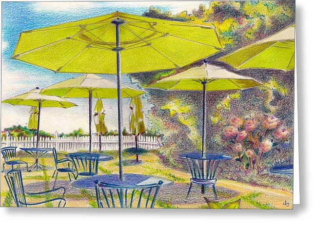Umbrella Pastels Greeting Cards - Block Island 2- Green Umbrellas Greeting Card by Daniela Johnson