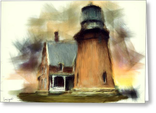 New England Ocean Digital Art Greeting Cards - Block Island Light Greeting Card by Lourry Legarde