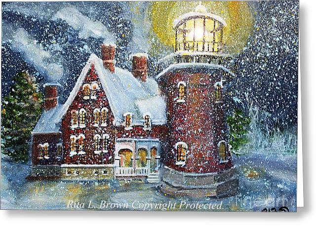 Christmas Season Blocks Greeting Cards - Block Island Lighthouse in Winter Greeting Card by Rita Brown