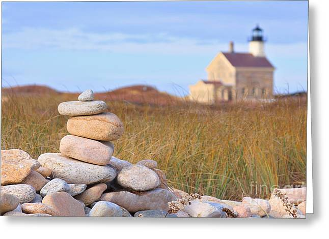 Block Island North Light Greeting Card by Katherine Gendreau