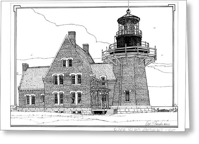New England Lighthouse Drawings Greeting Cards - Block Island Southeast Light Greeting Card by Ira Shander
