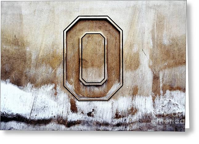 Block O Greeting Card by Rachel Barrett