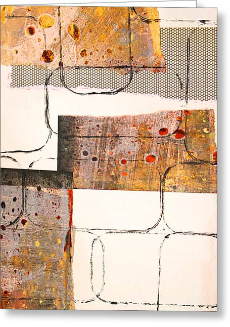Sienna Greeting Cards - Blocks Abstract Mixed Media Collage Greeting Card by Nancy Merkle