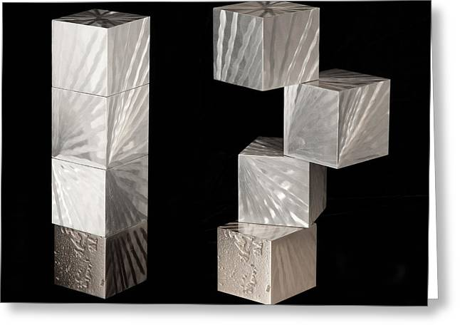 Aluminum Sculptures Greeting Cards - Blocks II Greeting Card by Rick Roth