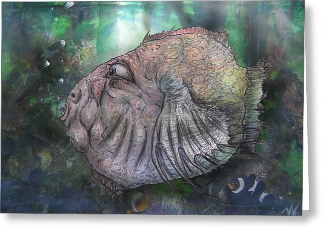 Puffer Mixed Media Greeting Cards - BloFish Greeting Card by Nicholas Vermes