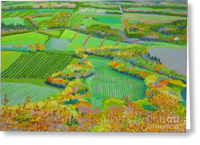 Vineyard Landscape Pastels Greeting Cards - Blomidon Lookoff Nova Scotia Greeting Card by Rae  Smith PSC
