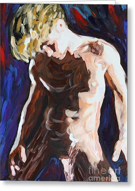 Homoerotic Paintings Greeting Cards - Blond - 2526 Greeting Card by Lars  Deike