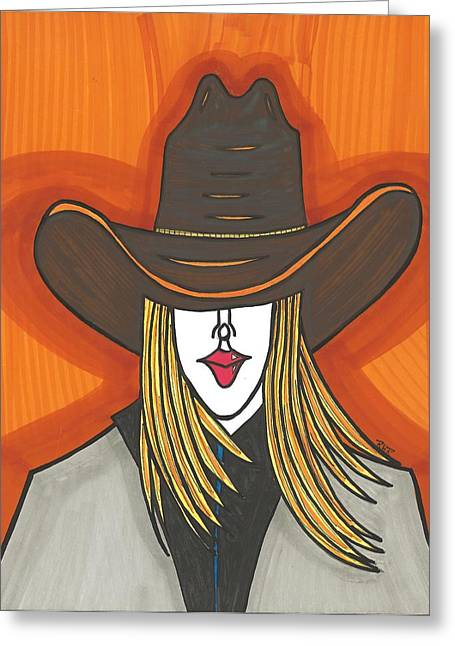 Blonde Mixed Media Greeting Cards - Blonde Cowgirl Greeting Card by Ray Ratzlaff