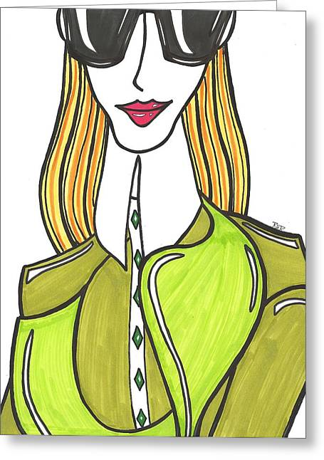 Blonde Girl Paintings Greeting Cards - Blonde in Green Greeting Card by Ray Ratzlaff