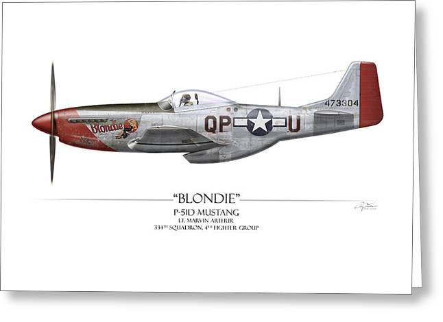 Aircraft Artwork Greeting Cards - Blondie P-51D Mustang - White Background Greeting Card by Craig Tinder