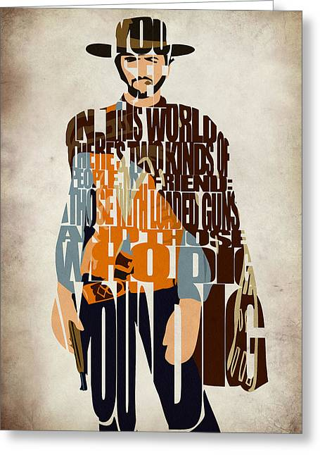 Typography Print Greeting Cards - Blondie Poster from The Good the Bad and the Ugly Greeting Card by Ayse Deniz