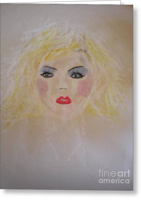 Pop Singer Pastels Greeting Cards - Blondie Sunday Girl Greeting Card by Angela Rose