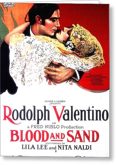 Playbill Greeting Cards - Blood and Sand 1922 Greeting Card by Mountain Dreams