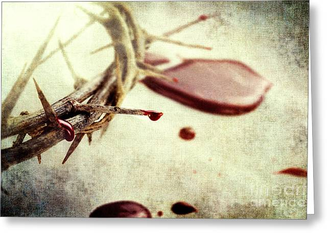 Jesus Christ Icon Greeting Cards - Blood and Thorns Greeting Card by Stephanie Frey